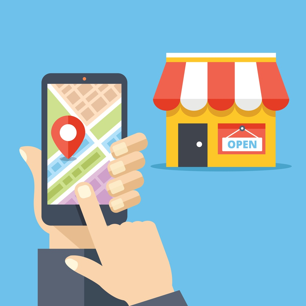 Illustration of person searching Google on mobile to find a local business