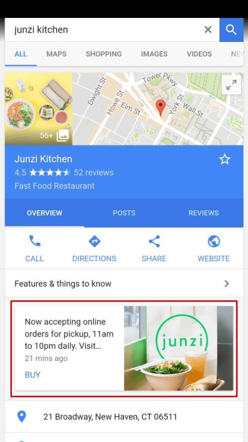 Example of a knowledge panel for a local restaurant