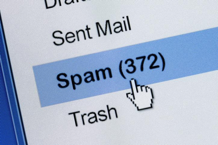 Image showing 372 messages in spam folder
