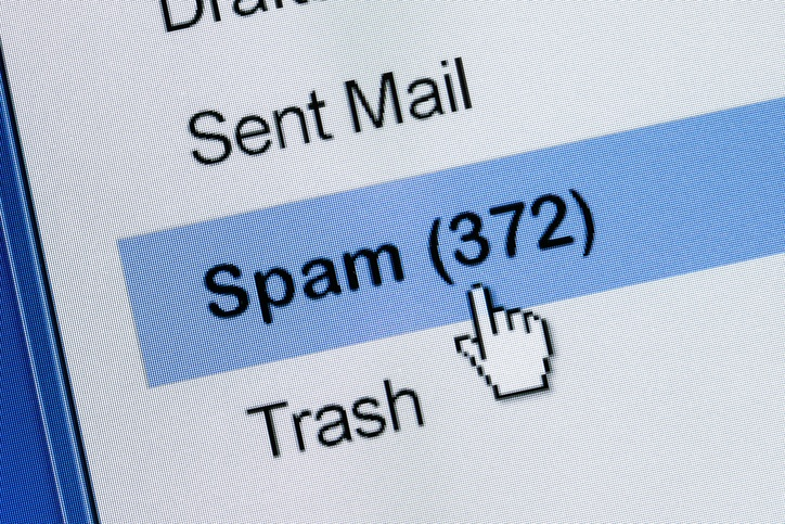 Image showing 372 messages in spam folder