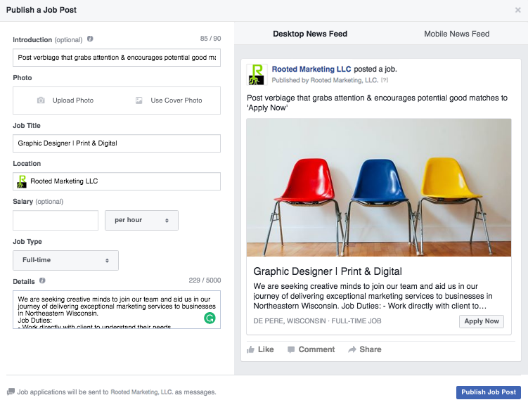Menu for Publishing a Job Post on Facebook