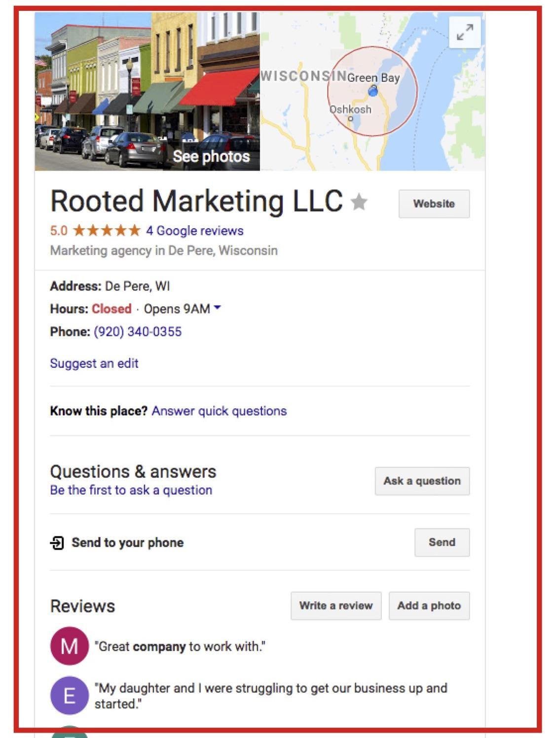 Example of Service Area business knowledge panel