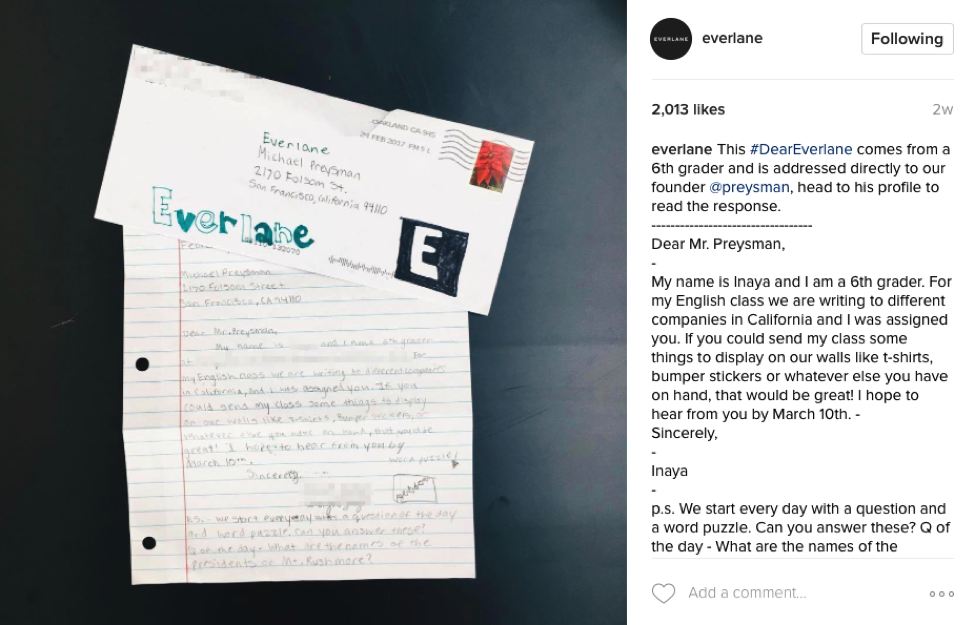 Instagram Post that features pictures of handwritten letters from customers