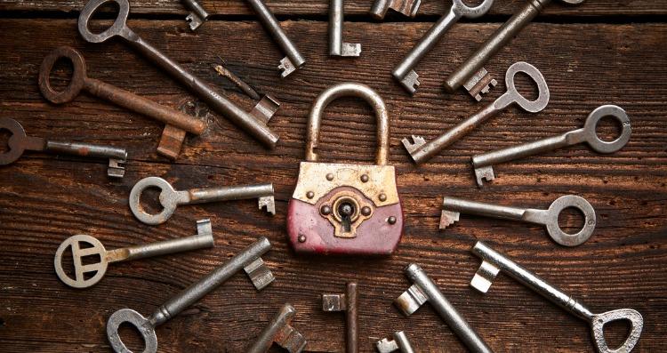 rusty vintage lock and key